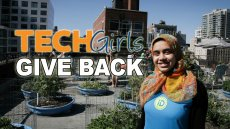 TechGirls volunteered at Hell's Kitchen Farm Project in New York City.