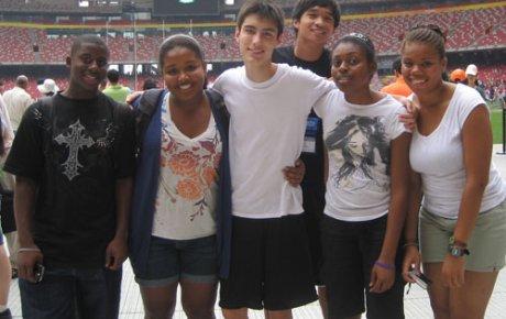 NSLI-Y students visit the Olympic stadium in Beijing, China.