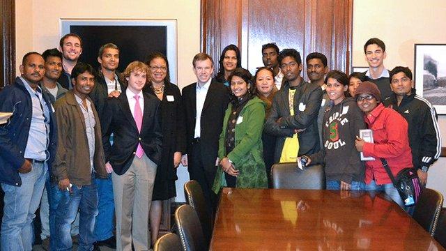 Mark Brunner, National Security Adviser to Senator Mark Warner, welcomed the delegation to the Capitol Building.