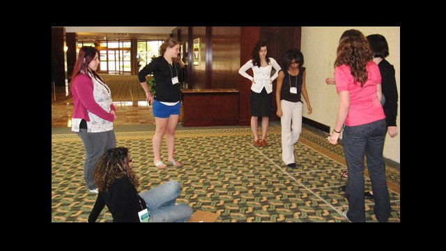 YES Abroad applicants participate in a group exercise at the Houston Selection Event.