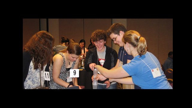 "YES Abroad applicants work together during the ""Build a Tower"" group exercise."