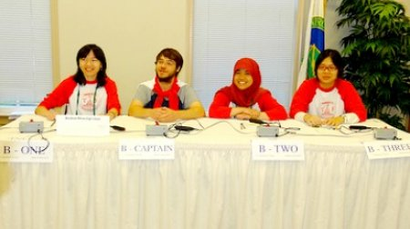 """Sutria """"Cucut"""" Syati (YES Indonesia 2011-2012) competing in National Science Bowl with Wilson High School team; Washington DC, April 29, 2012."""